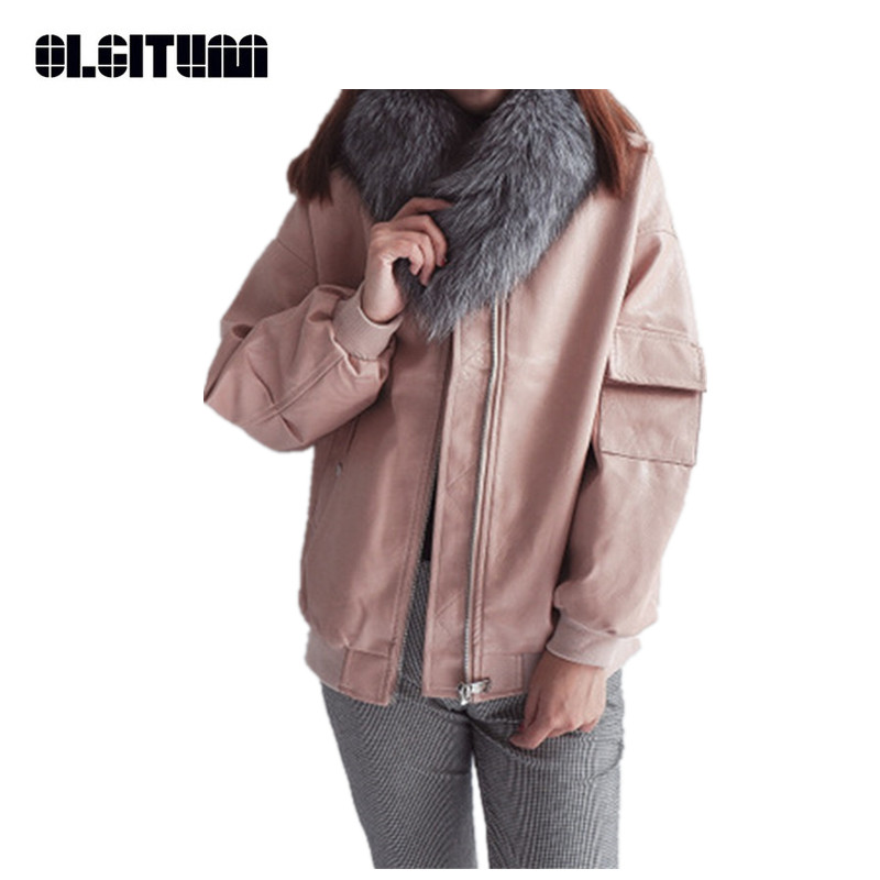 New 2018 Autumn Winter Women Basic Jacket Korean Style Solid Color Oversize Ladies Silhouette PU Leather Jacket Pink Black JK611