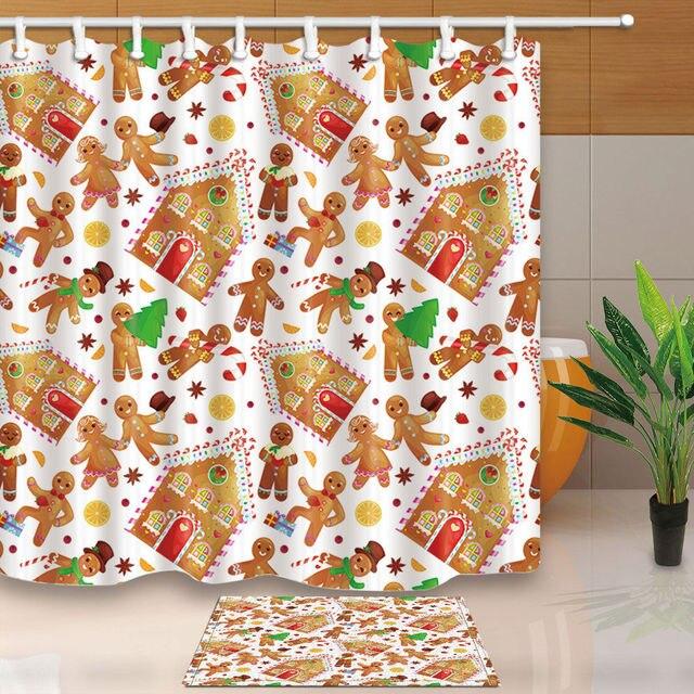 Christmas Cookies Gingerbread Man Shower Curtain Bathroom Decor Fabric 12hooks