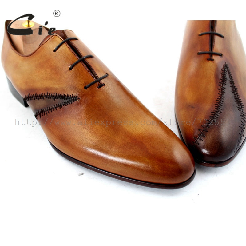 cie Free Shipping Custom Bespoke Handmade Genuine Calf Leather Men's Oxford Patch Lacing Shoe Color Brown No.OX195 Mackay Craft cie free shipping mackay craft bespoke handmade pure genuine calf leather outsole men s dress classic derby dark gray shoe d47