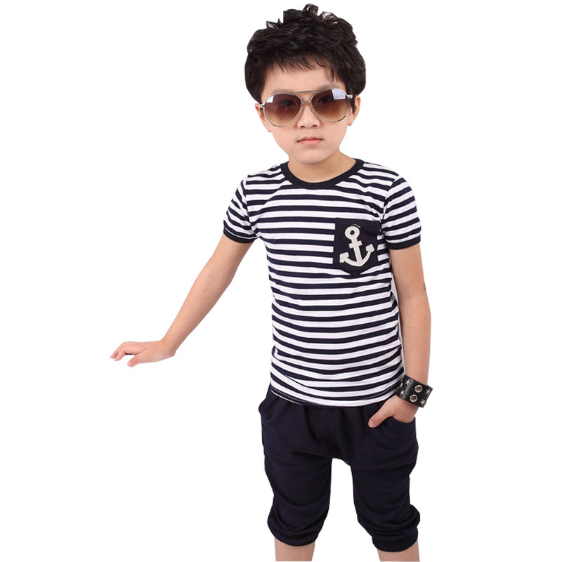 2-7yrs Children Clothes classic Striped Navy Boys sets Navy Blue short sleeve Pullover casual Sports Suit Boys Clothing Set