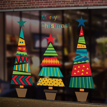 Merry Christmas Tree Star Wall Stickers Home Decals Living Room Decorations DIY PVC Festival Window