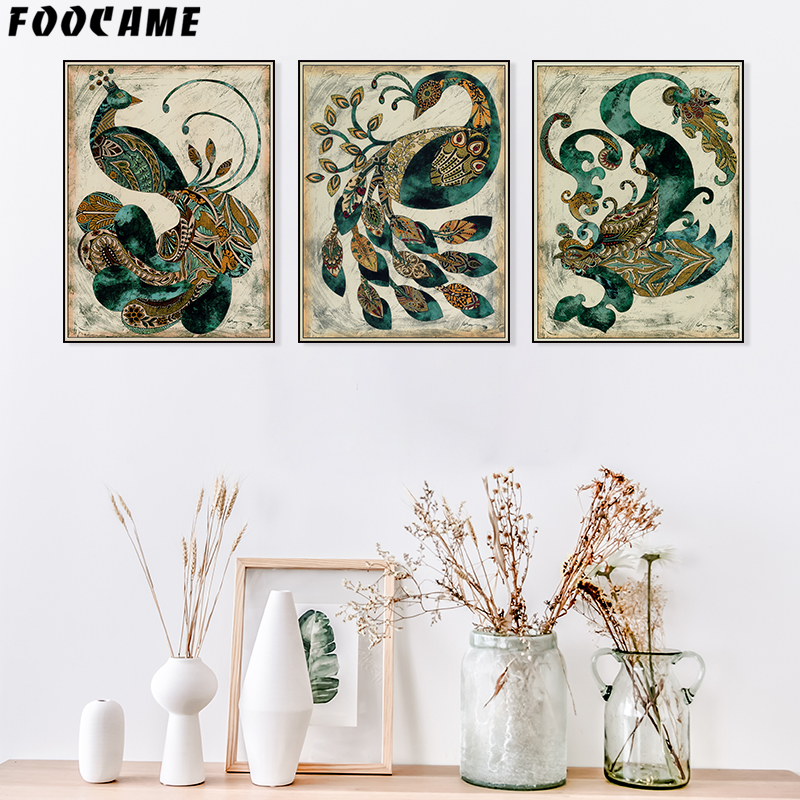 FOOCAME Vintage Peacock Artwork Nordic posters en prints Wall Art Canvas schilderij slaapkamer decoratie foto's Decor woonkamer