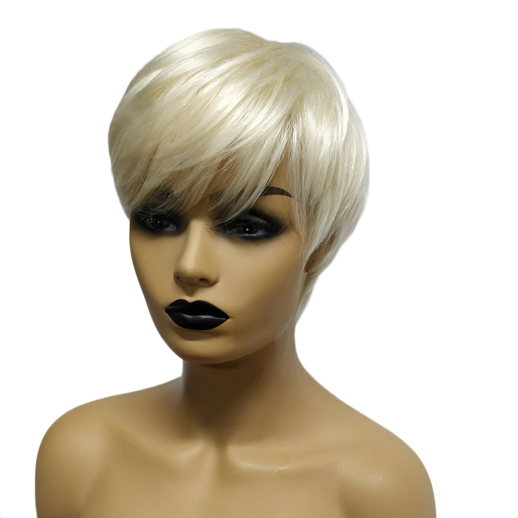 Women Short Real Human Hair Straight Pixie Cut Cosplay Party Wig 10 Inches Hairpiece Silver White