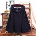 Japan Style Cute Mori Girl Ordinary Hooded Cloak Plus Size Coat Women Loose Button Solid Long Sleeve Winter Cotton Coats T186