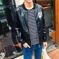 Quality Mens Coats 2016 New Plus Size Faux Leather Men Jacket Baseball Collar Letter Print Men's Bomber Jacket Windbreaker 5XL-M