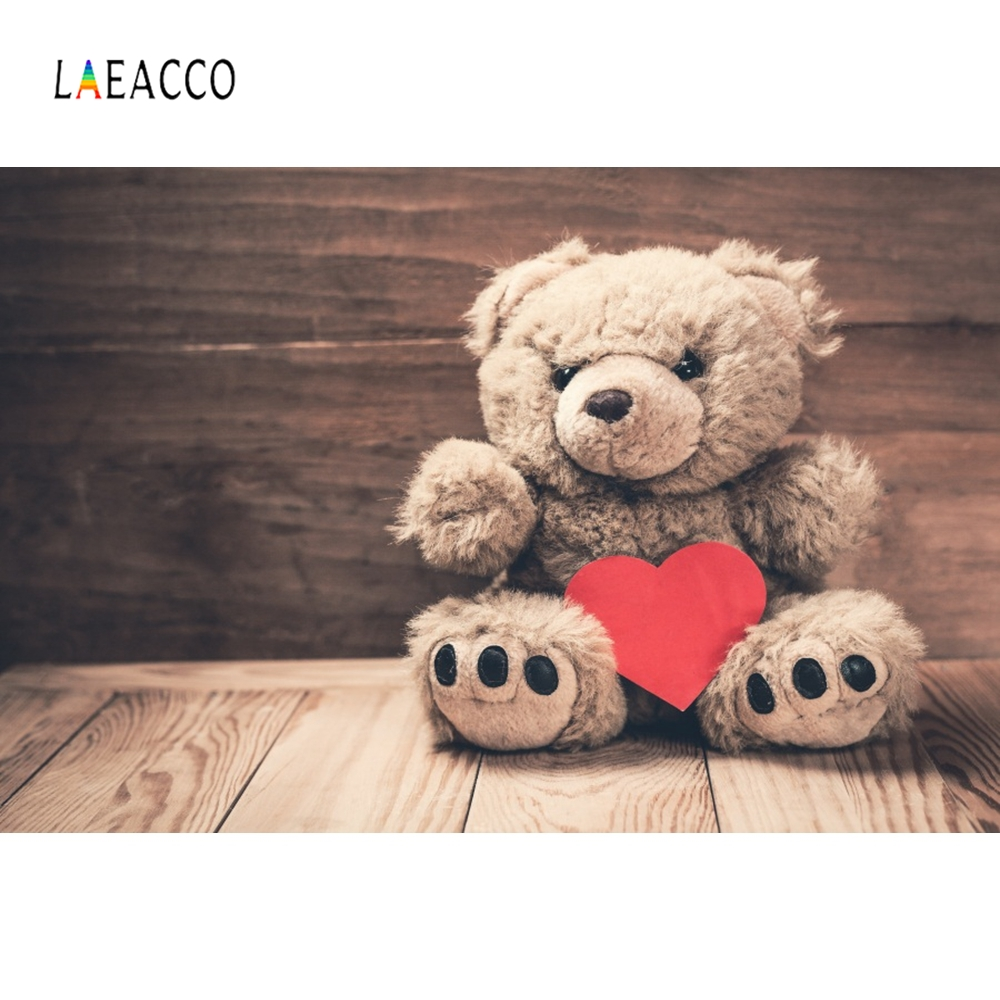 Laeacco Wooden Dolls Teddy Beer Baby Party Photography Backgrounds Customized Photographic Backdrops For Photo Studio in Background from Consumer Electronics