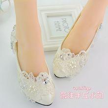 รองเท้าแต่งงานสีขาวมุกrhinestoneเจ้าสาว/เพื่อนเจ้าสาวรองเท้ารองเท้าเต้นรำรองเท้าผู้หญิงปั๊ม