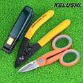 Envío Gratis kits de herramienta de fibra óptica Pixian fibra KELUSHI miller pelar doble agujero alicates Herramienta stripper + Kevlar Tijeras