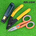 Kits de ferramentas de fibra óptica Pixian KELUSHI Frete Grátis fibra stripping buraco dupla miller stripper alicates Ferramenta + Kevlar Scissors