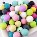 100 unid Perlas de Silicona bebé mordedor dentición Masticar perlas 12-20mm de Calidad Alimentaria segura De Enfermería Ronda Perlas de Silicona collar