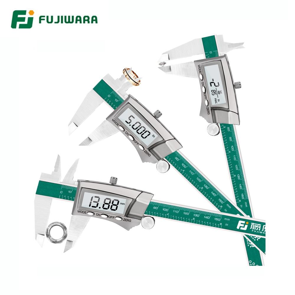 FUJIWARA Digital Display Stainless Steel Caliper 0-150MM 1/64 Fraction / Inch / Millimeter IP54 High-precision 0.01MM