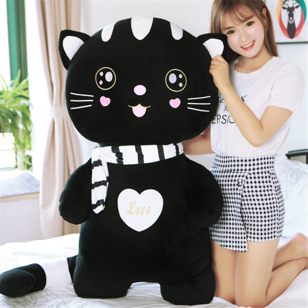 Fancytrader Cute Stuffed Soft Plush Cat Toys Big Anime Children Gifts Cats Doll Pillow 120cm/100cm/80cm fancytrader biggest in the world pluch bear toys real jumbo 134 340cm huge giant plush stuffed bear 2 sizes ft90451