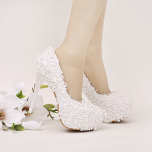 2017 Women Stiletto High Heel Shoes White Lace Bridal Wedding Party Dress Shoes Handmade High Quality Graduation Party Pumps