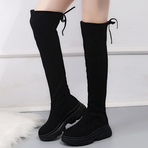 Image 4 - Women Elastic Long Boots Fashion Over The Knees Long Flat Boots Increased Wedges Women Boots Spring Autumn Winter Women Shoes