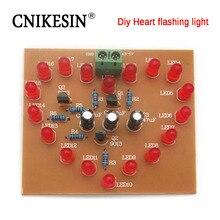 CNIKESIN LED heart-shaped flashing light Flashing lamp Diy electronic production kit 18 red LED heart-shaped lamp Suite