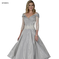 Silver Grey Knee Length Mother Of The Bride Dress With Three Quarter Sleeves Appliques Women Party Gown Wedding CM0120