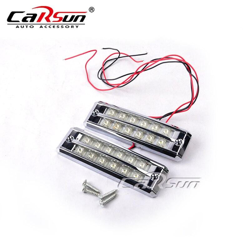 Новый 12V 12 LED авто автомобиль внешнего света Водонепроницаемый Белый LED DRL туман дневного света светодиодные фары дневного света с выключателем ла-572