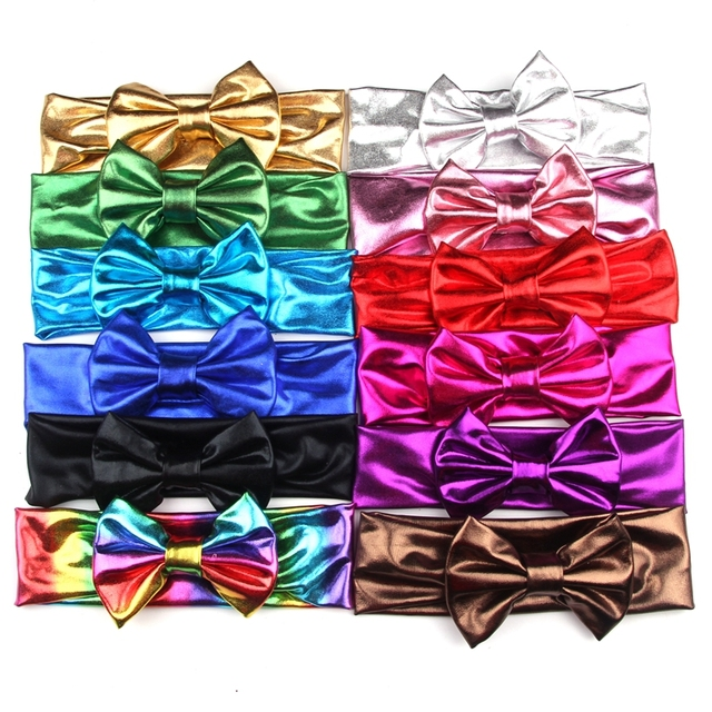 af36601ac23 Glitter Metallic Bow Headband For Girls 2018 NEW Solid Elastic Hair Bands Hair  Accessories Kids 4