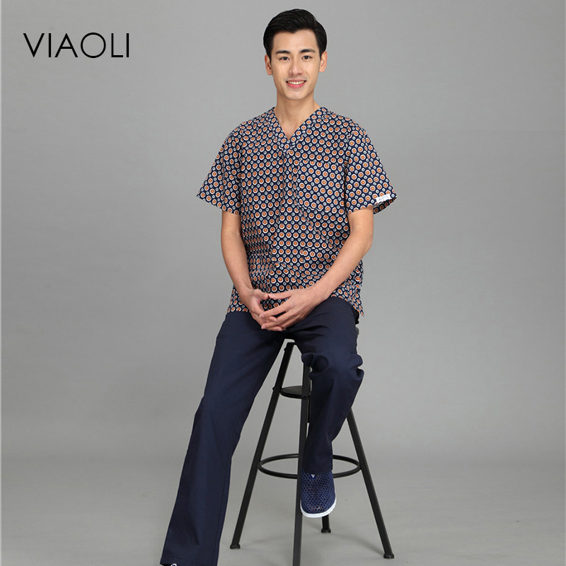 Viaoli 2020 New Summer Short-sleeved Surgical Clothing Men And Women Doctors Suits Split Brush Suit Coat+pants Set Blue Spots