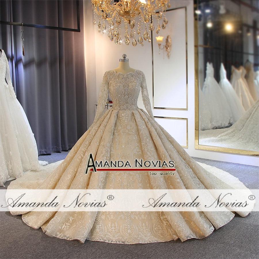 Image 2 - wedding dress 2019 full lace beading luxury sparkling wedding gown bridal dress-in Wedding Dresses from Weddings & Events