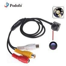 Podofo 600TV 170 grados súper pequeña cámara de vídeo de color con línea de audio HD Mini seguridad CCTV Pin Hole Cámara