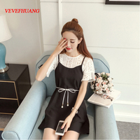 New Spring Women dress Spaghetti Strap Patchwork Hollow Out Small Clear False Outfit Dresses Gray Black L0843