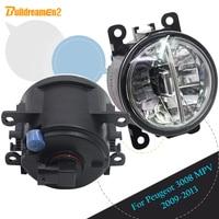 Buildreamen2 Car Accessories LED Lamp Fog Light Daytime Running Lamp DRL White 12V For Peugeot 3008 MPV 2009 2010 2011 2012 2013