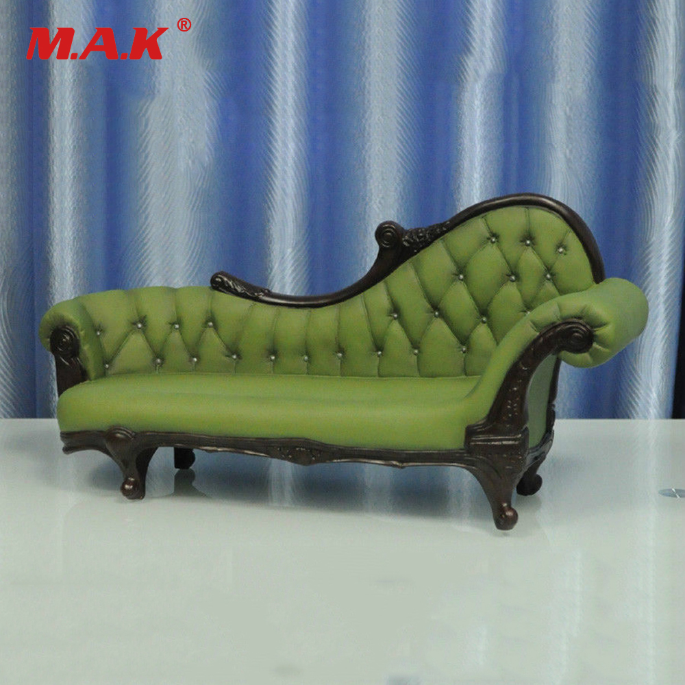 Hot Doll Figure Accessory Furniture 1 6 KUMIK AC 7 Green Long Sofa Settee Retro Couch