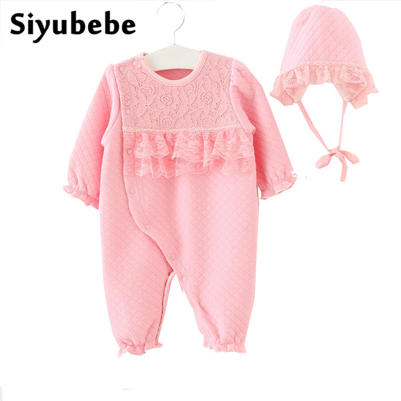 Winter Newborn Baby Girl Clothes Fashion Brand Thicken Cotton Coveralls Princess Lace Infant Baby Girl Rompers &  Hats Set 0-12M newborn baby girl clothes air cotton winter thicken coveralls rompers princess lace infant girls clothing set jumpsuit hats
