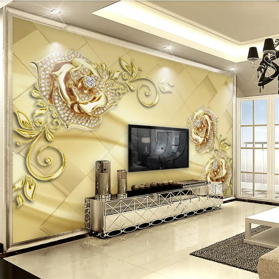 Custom wallpaper 3d photo murals luxury golden flower jewelry TV background wall papers home decor papel de parede 3d wallpaper in Wallpapers from Home Improvement
