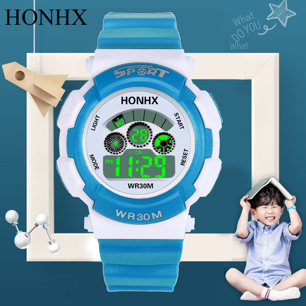 HONHX Fashion Casual Child Boys Girls Watch Digital LED Analog Quartz Alarm Date Sports Children Clock Wrist Watches Reloj Nio