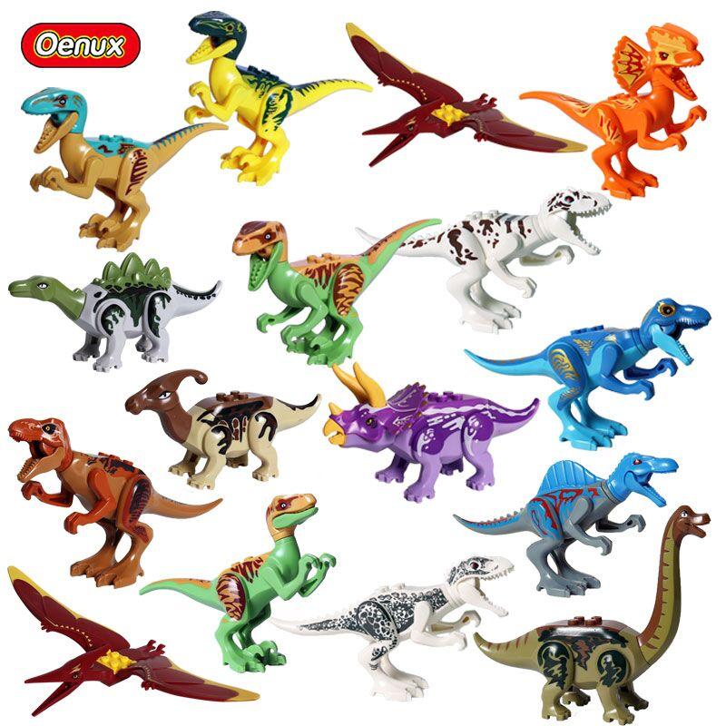 Oenux Classic Jurassic Dinosaurs Model Building Block Velociraptor Pterosaur Triceratops T-Rex Dinosaur Animals World Brick Toy