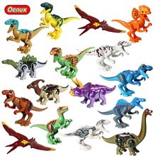 Oenux Clássico Jurassic Modelo Building Block Velociraptor Dinossauros Triceratops T-Rex Dinossauro Pterossauro Animais Mundo Brinquedo Tijolo