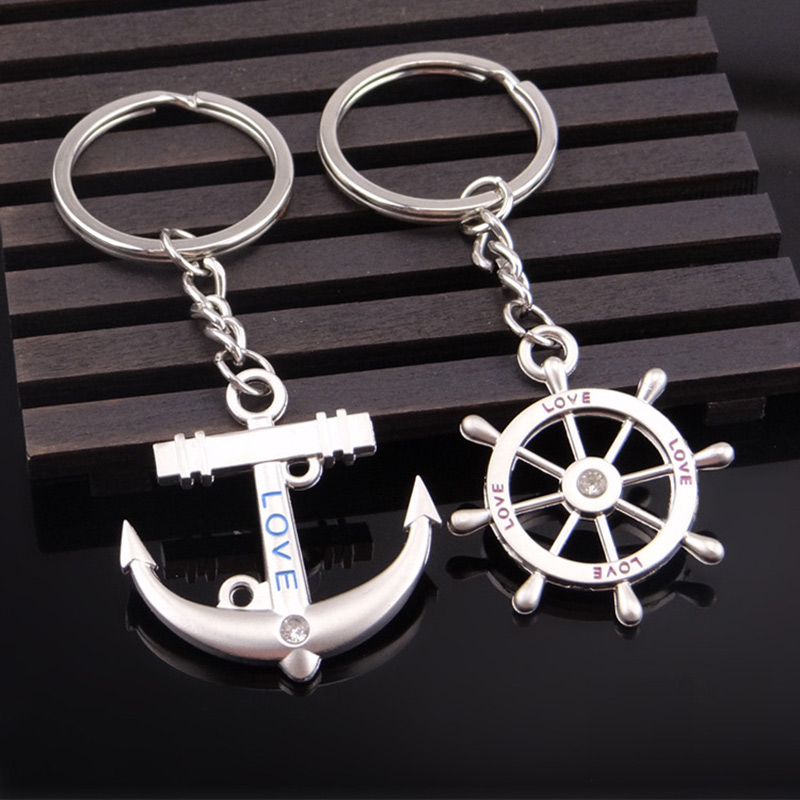 1 pair Key Bag Chain Ring keychain Metal Couples lovers Anchor Rudder love gift