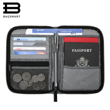 BAGSMART Multifuncțional de călătorie Passport Bag RFID Passport Card deținător de carduri Bank Card Bag Ambreiaj Holder Fermoar Case Purse