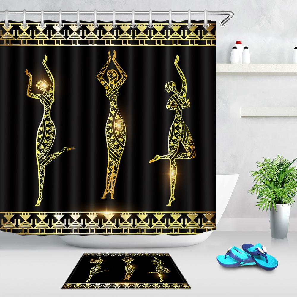 LB Abstract Dancing Gold Girl And Frame Black Shower Curtain Mat Set Waterproof Polyester Bathroom