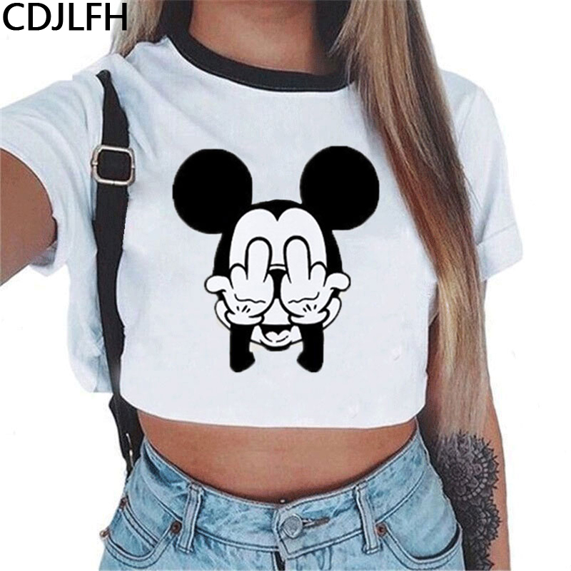 2019 Summer Crop Top   T     Shirts   Women Harajuku Kawaii Mouse Shy Expression Printed Tees   Shirt   Femme Tops Streetwear Women's   Shirts