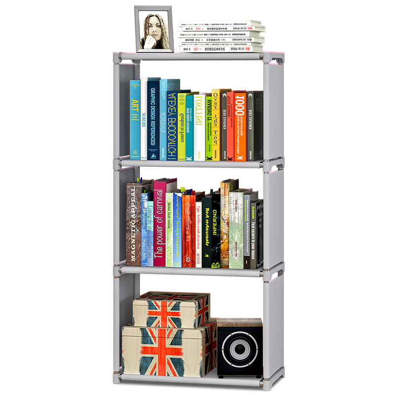 Us 26 99 10 Off 4 Tiers 3 Grids Nonwoven Fabric Bookshelf Kids Home Decoration Living Room Dorm Books Storage Organizer Easy Assembly Bookcase In