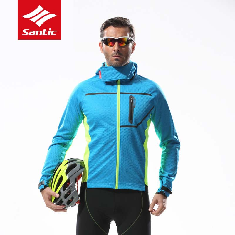 Santic Cycling Jacket Men Detachable Cap Winter Autumn Keep Warm Fleece Thermal Hooded Bike Jacket Bicycle Clothes Ciclismo