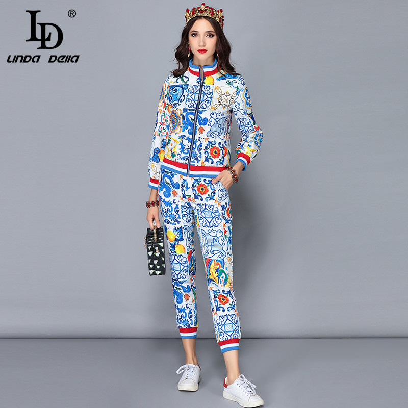 LD LINDA DELLA Runway Designer Autumn Winter Pants Two Pieces Sets Women s Long Sleeve Jackets