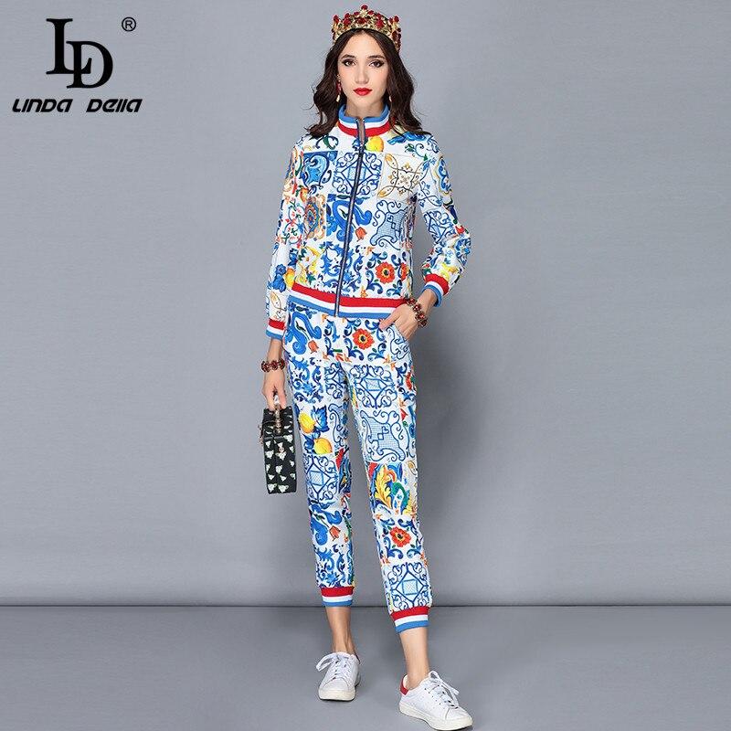 LD Linda della взлетно посадочной полосы дизайнер осень зима брюки для девочек комплекты из двух предметов женские куртки с длинными рукавами +