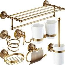 Античная латунь Европейский Ванная оборудования Комплект Настенные резные ванной продукции вешалка для полотенец для туалетной щетки стойку крючок