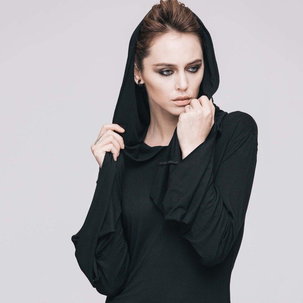 Gothique Sexy noir Flare manches à capuche robe Rock Punk nuit Club fête robes courtes rétro Vintage Streetwear femmes vêtements 2019 - 3