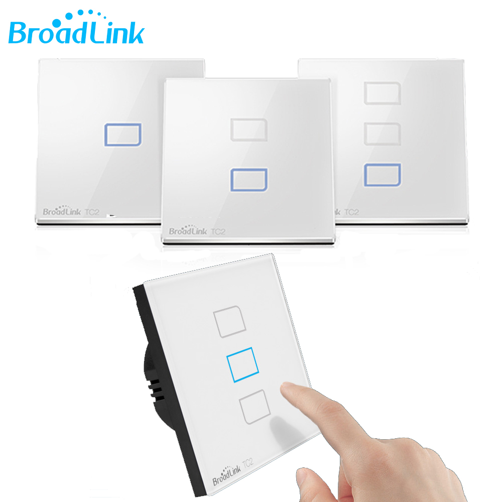 Broadlink TC2 1/2/3 Gang Wireless Remote Control Wifi Wall Light Touch Switch 433MHZ 110V-240V Smart Home EU /US Standard broadlink us tc2 wifi touch switch 3gang 110 220v for rm2 rm pro universal remote controller wifi ir rf wireless control 433 315
