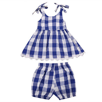 Kids Toddler Baby Girls Clothing Set Sleeveless Plaid Tops Min Dress Shorts 2pcs Outfits Summer Children Clothes baby girls summer clothing girls july 4th anchored in god s word shorts clothes kids anchor clothing with accessories