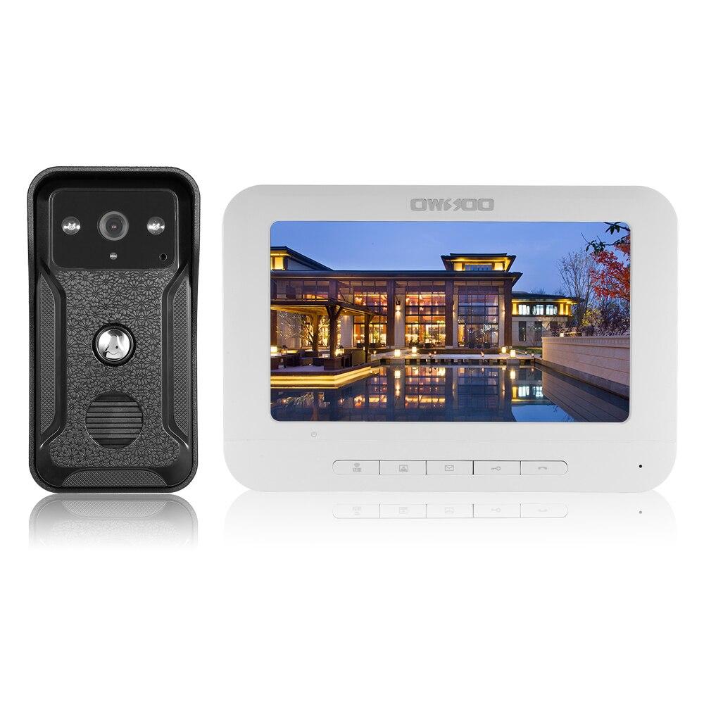 OWSOO 7 Inch Wired Video Door Phone Intercom System with IR CUT Rainproof Outdoor Wired Doorbell