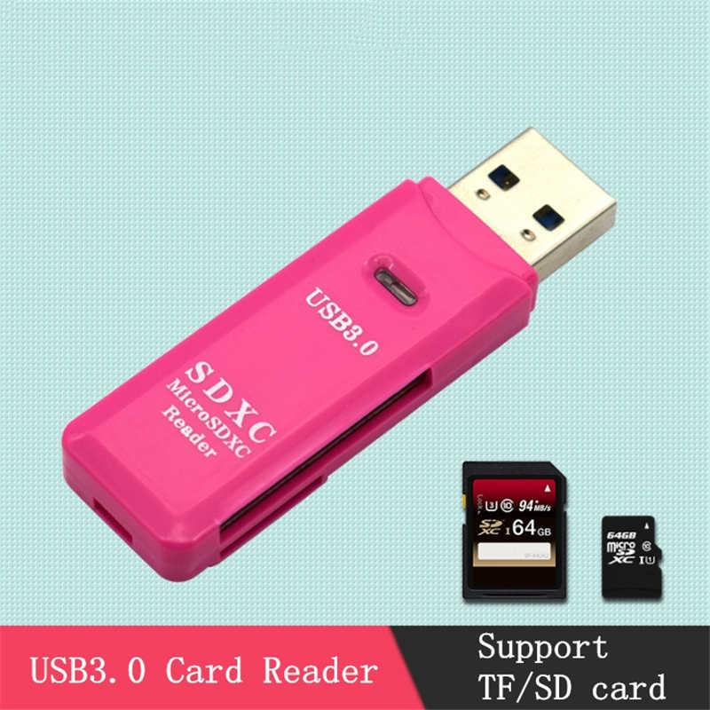GAOMUYUE USB 3.0 قارئ بطاقات مايكرو و tf بطاقات. USB3.0 قارئ بطاقات s ل SD/TF بطاقات دعم ماكس 100 متر/الثانية DJ2
