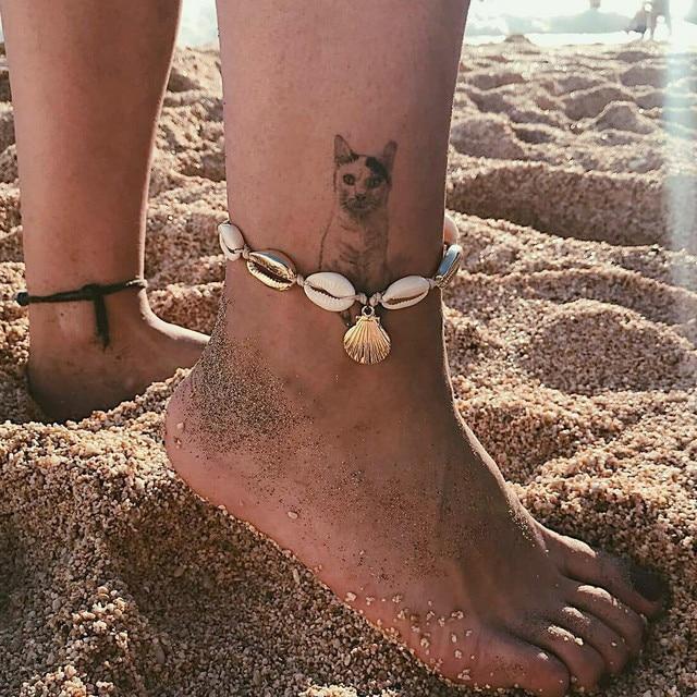 Bohemian Sea Shell Gold ข้อเท้าโซ่สำหรับผู้หญิงข้อเท้าสร้อยข้อมือขาหญิง Anklets รองเท้าแตะเครื่องประดับ Barefoot Beach