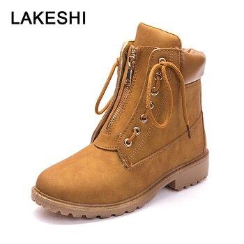 LAKESHI mujeres botas 2018 botines botines botines de otoño e invierno femenino Lace c5fae1