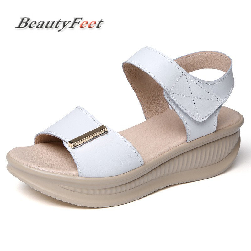 BeautyFeet Wedges Sandals Women Shoes Female New Summer Comfort All-match Muffin Genuine Leather Peep Toe Thick Bottom Sandals 2017 new summer fashion women casual shoes genuine leather lady leisure sandals gladiator all match ankle peep toe flowers